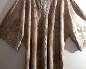 Weathered Dreams TM LACE Tunic Dress Caftan  2x 3x 4x Beige Tan Taupe Tea Stained Wearable Art Boho Shabby Chic  Bohemian