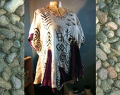 Clearance Sale Ancestral Dreams Hand Painted Art sHIRT tOP blouse 2X 3X beige bLACK magenta Linen Velvet Leopard uPCYCLED bOHO cHIC Tribal