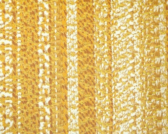 Retro Wallpaper by the Yard 70s Vintage Wallpaper – 1970s Yellow and White Faux Woven Stripes
