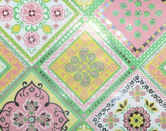 Retro Wallpaper by the Yard 70s Vintage Mylar Wallpaper - 1970s Pink Green Yellow and Silver Quilt Geometric Mylar