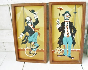2 vintage paintings paint-by-number framed circus clowns 1960s
