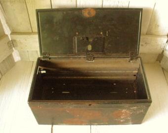 Vintage metal box distressed black locked file battered tarnished rusty