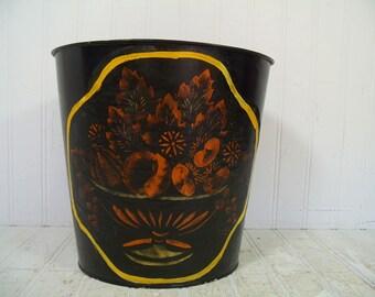 Vintage Black Paint Treatment Over Old Toleware Metal Oval Waste Can - Hand Stenciled Art Trash Basket - Folkart Painted Upcycled Black Bin