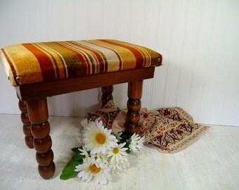 Mid Century Crushed Velvet Multicolor Upholstered Wooden Ottoman - Vintage Heavy Duty Seventies Era Foot Stool, Retro Rectangular Wood Bench