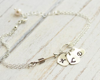 Sterling Silver Arrow Bracelet with Initial Hearts -- You Choose How Many Initials