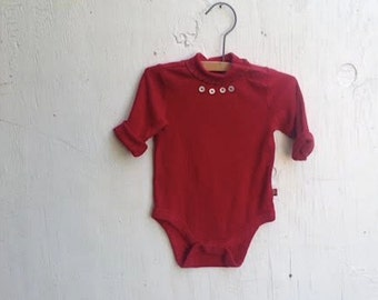 sweet infant baby red onesie buttons turtleneck stitching ooak bodysuit shower gift