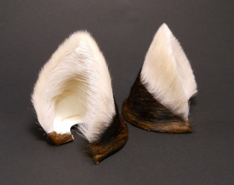 Cream White and Dark Brown Brindle Fur Leather Wolf Dog Fox Ears Inumimi Kitsune Fairy Cosplay Furry Goth Fantasy LARP Costume Pet Play