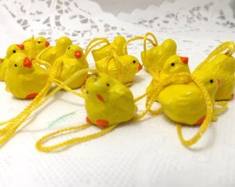12 miniature easter chicks for miniature easter trees or Easter decor