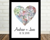 Los Angeles Map Heart Print Poster Engagement Gift ANY CITY Worldwide Wedding Gift Valentines Day Gift Holiday Gift Christmas Gift under 20