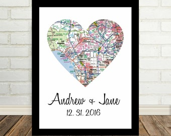 Personalized Gift for Couple Wedding Map Heart Map Gift
