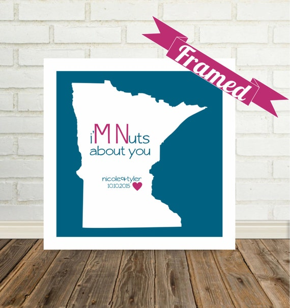 MINNESOTA Map Print Unique Anniversary Gift FRAMED Art Minnesota Wedding Gift Minnesota Bride Minnesota Engagement Valentines Day Gift