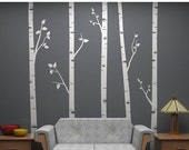 "Huge Moving SALE - Birch Tree Wall Decals with Branches Sticker Set - 5 Trees 96"" Tall Each - Vinyl wall art for decorating"