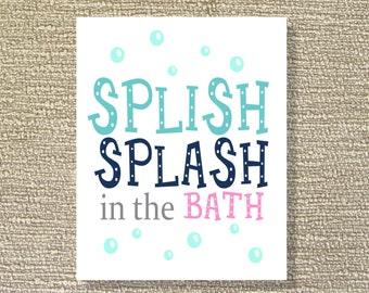 Splish Slpash, Printable Wall Art, Bathroom Decor, Pink and Aqua- Print