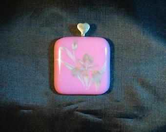 Pink Glass Pendant Siver Iris Decal Inlay
