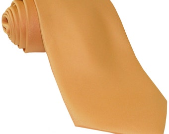 Men's Solid Gold Big & Tall Extra Long Necktie, for Formal Occasions