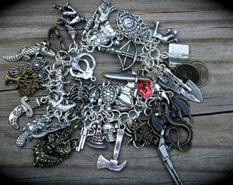 Grimm Reaper - Horror - Fantasy - Loaded Fairy Tales Charm Bracelet - Monster - Witch - Dragon - Wolf - Myth - Magic - Story Book - Fandom