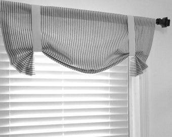 Faux Roman Shade Gray Ivory Ticking Stripe Lined Mock