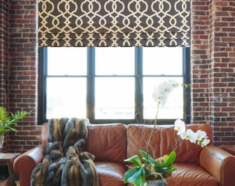 Faux Roman Shade Lined Mock Valance  Emory Pewter Charcoal / Gray / Ivory  Custom Sizing Available!