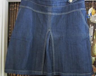 Knee-Length Jeans Denim Skirt with Side Seam Pockets - Large