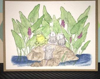 Singing friends handmade watercolor card