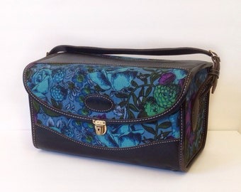 vintage train case floral and leather cosmetic case overnight case