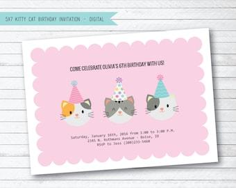 Pink Kitty Cat Digital Printable Birthday Party Invitation