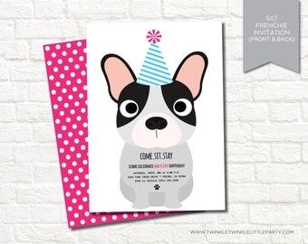 French Bulldog Dog Birthday Party Digital Invitation