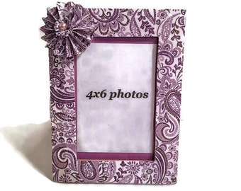 Purple Paisley Frame, Paisley Decoupaged Frame, Frames, Wood Frames, Photo Frame, Home Decor, Purple Decor, Gifts For Her, Frame Gifts