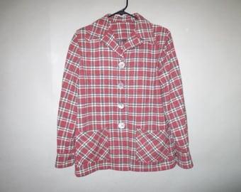 Sale***1950's Wool Plaid Jacket // Large Button Jacket