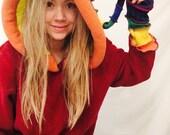 Red rainbow pride wool cable knit Elf jumper hoodie sweater unisex