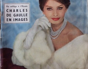 Rare Paris Match 1958 edition of Sophia Loren plus inside photos of Marilyn Monroe