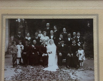 Original Vintage French Wedding Photograph with mount and Frame dated 1920-30's