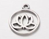 10 Silver Pewter LOTUS FLOWER Charm Pendants, meditation charms, yoga charms, chs2189