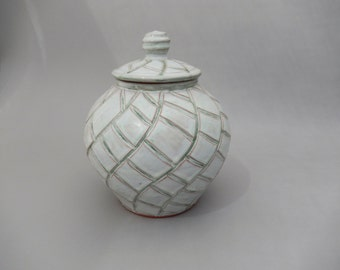 Pottery Urn - Lidded Gray-Green Pottery Jar