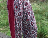 red white harlequin chequered diamond jester slouch baggy trousers uk size 12 14