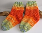Hand knit toddler girls or boys self patterning socks. 2 to 4 years. UK 6  EU 23  US 6. Orange shades green and blue
