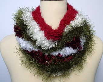 Women's / teenager's hand knitted freestyle infinity cowl / scarf / neckwarmer. Christmas gift. Red white and green.