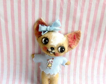 Chihuahua puppy dog  hand made hand painted cloth doll