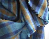 Handmade Turquoise Blanket Scarf Wrap Warm Brushed Cotton Fringed Edges Plaid  Blue, Russet Brown, Black