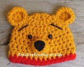 """Winnie the Pooh """"inspired"""" HAT ONLY  (Newborn-3 month / 3-6 month / 6-12 month sizes)"""