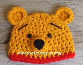"Winnie the Pooh ""inspired"" HAT ONLY  (Newborn-3 month / 3-6 month / 6-12 month sizes)"