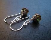 Kelpie Drops.  Mermaid Earrings in Seaweed Greens