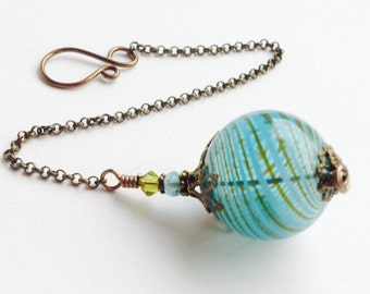 Witch Ball in Aquamarine. Wee Portable Spirit Catcher. Glass Ornament. Pagan Wicca