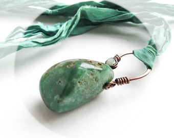 Chrysoprase Pendant Necklace Hand Forged in Copper. Hung on Sari Silk. Verdant Nimbus