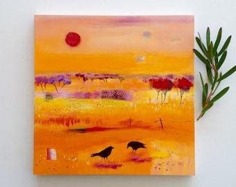 Abstract landscape, Crow art, orange painting, Australian painting, original art, FREE SHIPPING