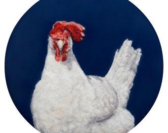 Sassy Hen - Art Print - High Quality Giclee Print - 5x7, 8x10 & 11x14 - Leghorn Chicken