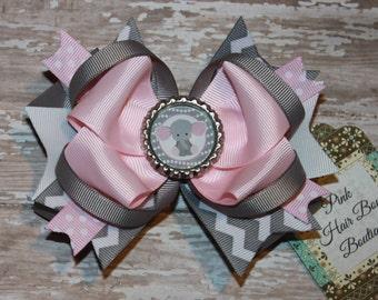 Elephant hair bow , pink and grey hair bow , chevron hair bow , cute boutique hair bow , first Birthday hair bow , pink and grey bow
