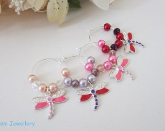 Set of 4 wine glass charms  *dragonflies* in pink and red ideal for your dinning table  #217 UK SELLER