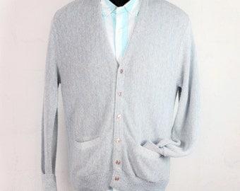 Vintage Mens Cardigan Medium Light Gray Sweater Jumper Classic Mr. Rogers Traditional Menswear Walnut Creek