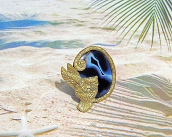 925 silver ring adjustable stone Onyx and owl flying in polymer clay
